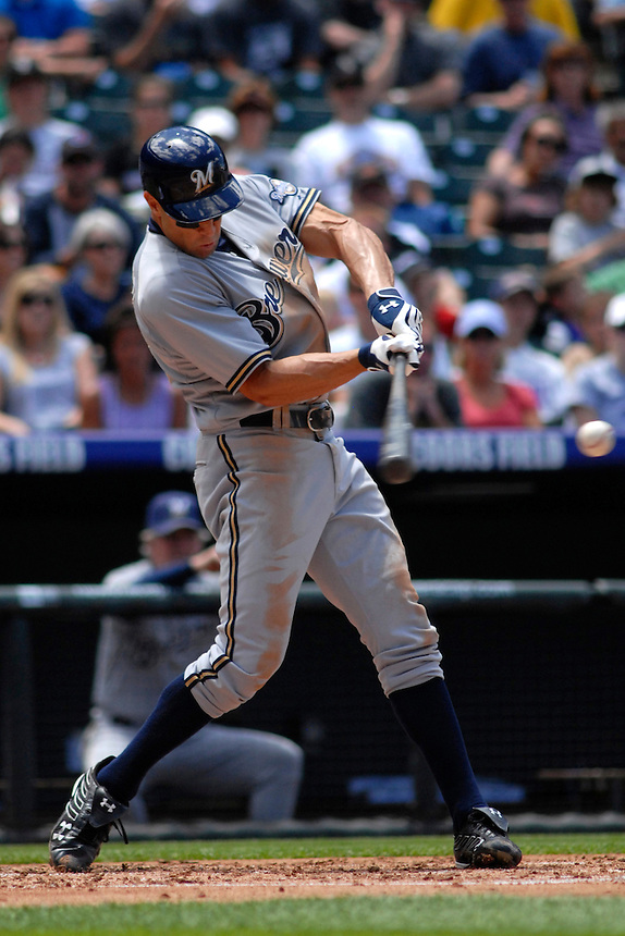 08 June 08: Milwuakee Brewers outfielder Gabe Kapler at bat against the Colorado Rockies. The Brewers defeated the Rockies 3-2 at Coors Field in Denver, Colorado. For EDITORIAL use only