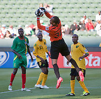 CARSON, CA – June 6, 2011: Greneda goalie Shemel Louison (30) during the match between Grenada and Jamaica at the Home Depot Center in Carson, California. Final score Jamaica 4 and Grenada 0.