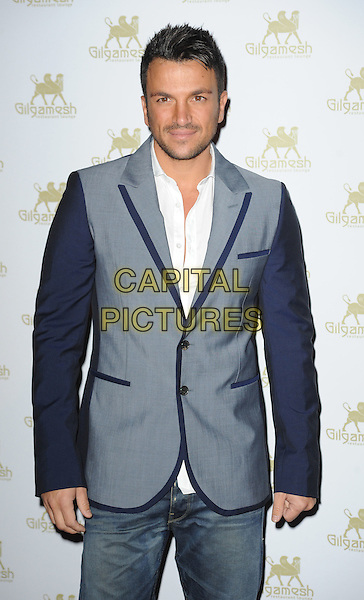 Peter Andre .Amy Childs' SS12 Clothing Collection Launch at the Gilgamesh Bar, Camden, London, England..19th March 2012 .half length grey gray blue black suit sleeves stubble facial hair white shirt.CAP/WIZ.© Wizard/Capital Pictures.