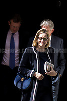 Amber Rudd MP (Secretary of State for the Home Department).<br /> <br /> London, 12/06/2017. Today, Theresa May's reshuffled Cabinet met at 10 Downing Street after the General Election of the 8 June 2017. Philip Hammond MP - not present in the photos - was confirmed as Chancellor of the Exchequer. <br /> After 5 years of the Coalition Government (Conservatives &amp; Liberal Democrats) led by the Conservative Party leader David Cameron, and one year of David Cameron's Government (Who resigned after the Brexit victory at the EU Referendum held in 2016), British people voted in the following way: the Conservative Party gained 318 seats (42.4% - 13,667,213 votes &ndash; 12 seats less than 2015), Labour Party 262 seats (40,0% - 12,874,985 votes &ndash; 30 seats more then 2015); Scottish National Party, SNP 35 seats (3,0% - 977,569 votes &ndash; 21 seats less than 2015); Liberal Democrats 12 seats (7,4% - 2,371,772 votes &ndash; 4 seats more than 2015); Democratic Unionist Party 10 seats (0,9% - 292,316 votes &ndash; 2 seats more than 2015); Sinn Fein 7 seats (0,8% - 238,915 votes &ndash; 3 seats more than 2015); Plaid Cymru 4 seats (0,5% - 164,466 votes &ndash; 1 seat more than 2015); Green Party 1 seat (1,6% - 525,371votes &ndash; Same seat of 2015); UKIP 0 seat (1.8% - 593,852 votes); others 1 seat. <br /> The definitive turn out of the election was 68.7%, 2% higher than the 2015.<br /> <br /> For more info about the election result click here: http://bbc.in/2qVyNRd &amp; http://bit.ly/2s9ob51<br /> <br /> For more info about the Cabinet Ministers click here: https://goo.gl/wmRYRd