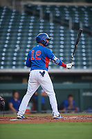 AZL Cubs 2 Abraham Rodriguez (12) at bat during an Arizona League game against the AZL Reds on July 23, 2019 at Sloan Park in Mesa, Arizona. AZL Cubs 2 defeated the AZL Reds 5-3. (Zachary Lucy/Four Seam Images)