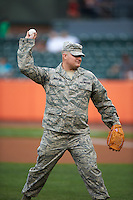 Aberdeen Ironbirds guest Staff Sergeant Robert Rohlfing throws out the ceremonial first pitch before during a game against the Tri-City ValleyCats on August 6, 2015 at Ripken Stadium in Aberdeen, Maryland.  Tri-City defeated Aberdeen 5-0 in a combined no-hitter.  (Mike Janes/Four Seam Images)