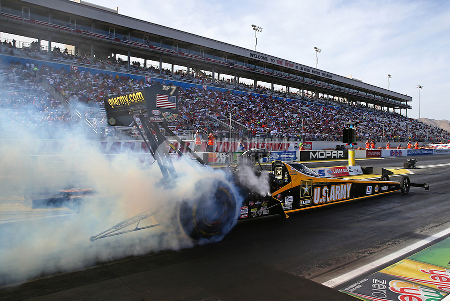 Oct 31, 2014; Las Vegas, NV, USA; NHRA top fuel driver Tony Schumacher during qualifying for the Toyota Nationals at The Strip at Las Vegas Motor Speedway. Mandatory Credit: Mark J. Rebilas-USA TODAY Sports