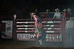 Bullfighter during first round of the Fort Worth Stockyards Pro Rodeo event in Fort Worth, TX - 8.9.2019 Photo by Christopher Thompson