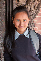 Nepal, Patan, Durbar Square.  Young Newari Girl, Age 18.