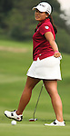Jenny Suh reacts after missing her putt on the playoff round during Alliance Bank Golf Classic in Syracuse, NY.