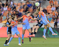 Rachel Daly (3) of the Houston Dash wins a header over Alyssa Mautz (4) of the Chicago Red Stars in the first half on Saturday, April 16, 2016 at BBVA Compass Stadium in Houston Texas.