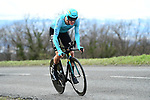 Jakob Fuglsang (DEN) Astana Pro Team in action during Stage 4 of the Paris-Nice 2018 an 18km individual time trial running from La Fouillouse to Saint-Etienne, France. 7th March 2018.<br /> Picture: ASO/Alex Broadway | Cyclefile<br /> <br /> <br /> All photos usage must carry mandatory copyright credit (&copy; Cyclefile | ASO/Alex Broadway)