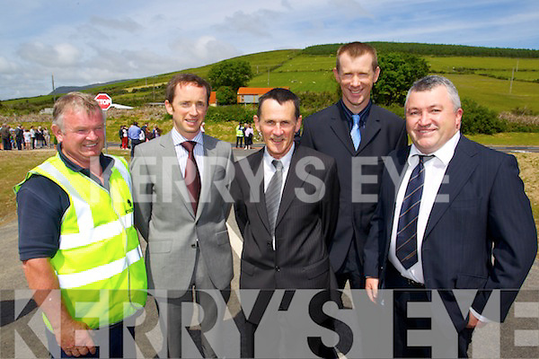 Pictured at the opening of the Annascaul Road on Friday last were l-r: Eoin Murphy (Eircom) Martin Burke (National Road Authority) Matt Corridon (Retired Kerry County Council) James Sayers (Kerry County Council) and George McMahon (Kerry County Council)