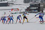 HOLMENKOLLEN, OSLO, NORWAY - March 17: (R-L) Riitta-Liisa Roponen of Finland (FIN), Katrin Zeller of Germany (GER), Julia Ivanova of Russia (RUS), Tuva Toftdahl Staver of Norway (NOR), Martine Ek Hagen of Norway (NOR), Marina Piller of Italy (ITA), Holly Brooks of USA and Mariya Guschina of Russia (RUS) during the Ladies 30 km mass start race, free technique, at the FIS Cross Country World Cup on March 17, 2013 in Oslo, Norway. (Photo by Dirk Markgraf).