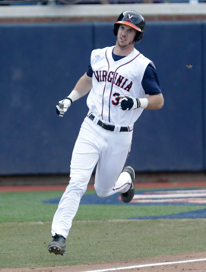 Virginia outfielder Mike Papi (38) rounds the bases after hitting a 2-run home run in the 3rd inning during the game against James Madison University Tuesday in Charlottesville, VA.  Photo/The Daily Progress/Andrew Shurtleff