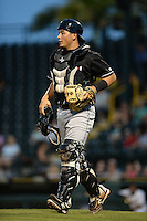 Jupiter Hammerheads catcher Chris Hoo (8) during a game against the Bradenton Marauders on April 18, 2015 at McKechnie Field in Bradenton, Florida.  Bradenton defeated Jupiter 4-1.  (Mike Janes/Four Seam Images)