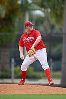 GCL Phillies East relief pitcher Mark Potter (29) delivers a pitch during a game against the GCL Blue Jays on August 10, 2018 at Carpenter Complex in Clearwater, Florida.  GCL Blue Jays defeated GCL Phillies East 8-3.  (Mike Janes/Four Seam Images)