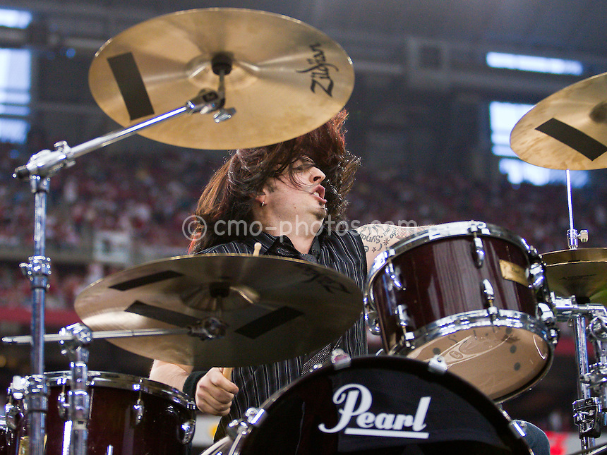 Jan 18, 2009; Glendale, AZ, USA; Cheney Brannon, drummer for Collective Soul, plays during halftime of the NFC Championship Game between the Philadelphia Eagles and the Arizona Cardinals at University of Phoenix Stadium.  The Cardinals won the game 32-25 to advance to Super Bowl XLIII.