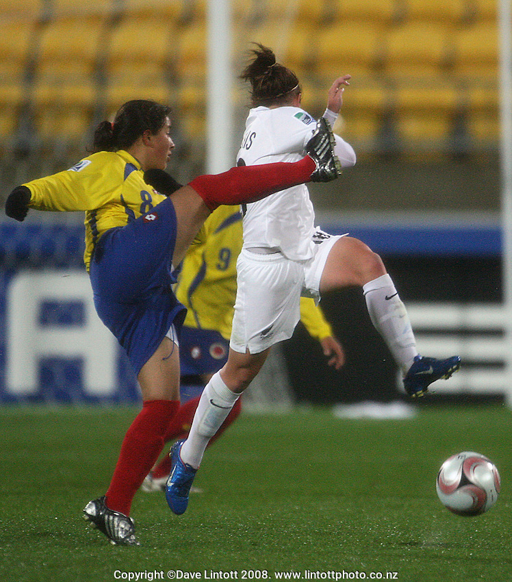 NZ's Lauren Mathis tries to block Alejandra Quintero during the FIFA Women's Under-17 World Cup pool match between New Zealand and Columbia at Westpac Stadium, Wellington, New Zealand on Tuesday, 4 November 2008. Photo: Dave Lintott / lintottphoto.co.nz