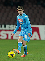Jorginho in action during the Italian Serie A soccer match between SSC Napoli and Chievo  at San Paolo stadium in Naples, January 25, 2014