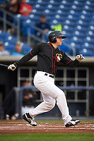 Quad Cities River Bandits outfielder Ryan Bottger (9) at bat during the first game of a doubleheader against the Wisconsin Timber Rattlers on August 19, 2015 at Modern Woodmen Park in Davenport, Iowa.  Quad Cities defeated Wisconsin 3-2.  (Mike Janes/Four Seam Images)