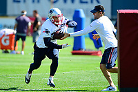 July 28, 2017: New England Patriots running back Rex Burkhead (34) does a drill at the New England Patriots training camp held at Gillette Stadium, in Foxborough, Massachusetts. Eric Canha/CSM