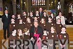 Pupils from Scoil Mhic Easmainn, Tralee, who received their Confirmation from Bishop Bill Murphy in St Johns Church on Friday. Front row l-r: Maire Ros Ni Bhraoin, Ciara Ni Chonchuir, Becky Ni Shuilleabhain, Tadhg O Floinn, Eadaoin Mag Fhionnaile and Jason O Tiochain. Middle row l-r: Roibeard O Murchu, Caitlin Ni Shuilleabhain, Rebekah Ni Chonchuir, Seaghan O Murchu, Cait Ni Shuilleabhain, Megan Ni Chraidhn and Ciaran O Ruairc. Back row l-r: An Maistir Deaglan O Cuill, Pol O Gealbhain, Pol O Cuinneagain, Ned O Se, Cliodhna Ni Mhuirthile, Donncha O Siochru, An tAthair Padraig Breathnach, Aisling Ni Mhuircheartaigh, Cristin Ni Fhoghlu and Maire Mhic Giolla Rua (Priomhoide)..