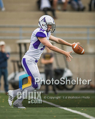 8 October 2016: Amherst College Purple & White Punter Henry Atkeson, a First Year from Raleigh, NC, in action against the Middlebury College Panthers at Alumni Stadium in Middlebury, Vermont. The Panthers edged out the Purple & While 27-26. Mandatory Credit: Ed Wolfstein Photo *** RAW (NEF) Image File Available ***