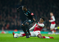 West Ham's Pedro Obiang and Arsenal's Joe Willock during the Carabao Cup QF match between Arsenal and West Ham United at the Emirates Stadium, London, England on 19 December 2017. Photo by Andrew Aleksiejczuk / PRiME Media Images.