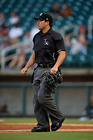 Umpire Cody Clark during a Southern League game between the Chattanooga Lookouts and Birmingham Barons on July 24, 2019 at Regions Field in Birmingham, Alabama.  Chattanooga defeated Birmingham 9-1.  (Mike Janes/Four Seam Images)