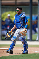 Toronto Blue Jays catcher Geyber Jimenez (55) during a Florida Instructional League game against the Pittsburgh Pirates on September 20, 2018 at the Englebert Complex in Dunedin, Florida.  (Mike Janes/Four Seam Images)