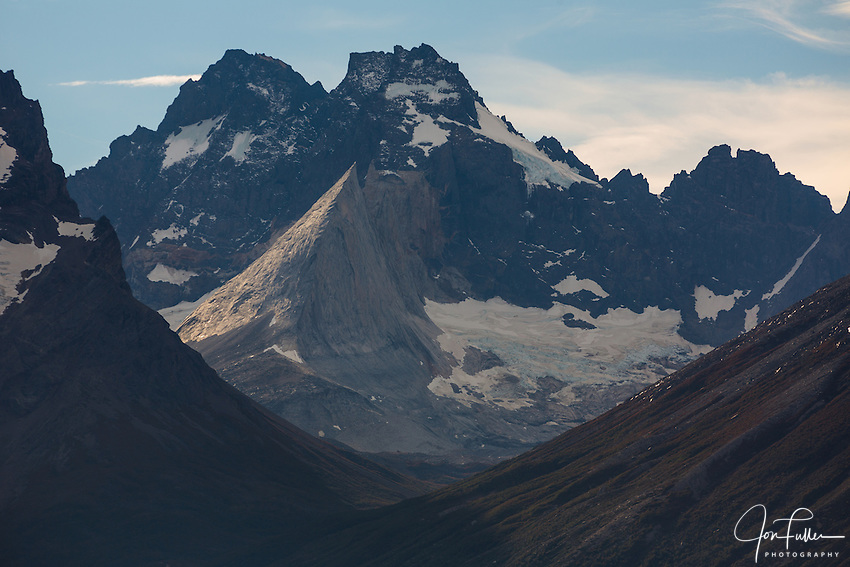 The view up the French Valley with the Shark's Fin,  or Aleta de Tiburon,<br /> in front and the White Throne,  or Cerro Trono Blanco, behind.  Torres del Paine National Park in Patagonia, Chile.  A UNESCO World Biosphere Reserve.