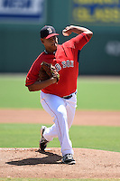 GCL Red Sox pitcher Dedgar Jimenez (57) delivers a pitch during a game against the GCL Rays on June 25, 2014 at JetBlue Park at Fenway South in Fort Myers, Florida.  GCL Red Sox defeated the GCL Rays 7-0.  (Mike Janes/Four Seam Images)