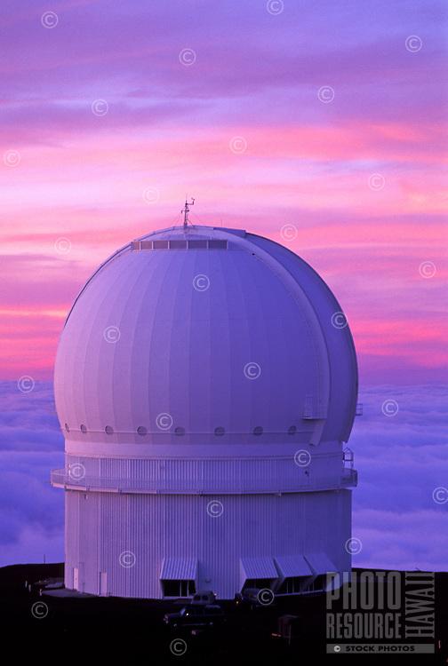 Canadian- France-Hawaii observatory at sunset on Mauna Kea, Big Island of Hawaii