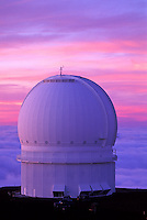 Canadian- France-Hawaii observatory at sunset on Mauna Kea, Big Island of Hawaii