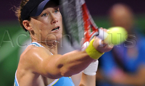 19 02 2012   Doha Feb 19 2012 Xinhua Samantha Stosur of Australia Returns to Marion Bartoli of France during their WTA Tennis women Qatar Open Semi Final Tennis Match in Doha ON February 18 2012 Bartoli pulled out of The Semi-finals when She what trailing 6 3 0 0 Stosur Won by  Xinhua Chen   Qatar Doha Tennis WTA Qatar Total Open
