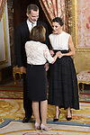 King Felipe VI of Spain (l) and Queen Letizia of Spain (r) receive U.S. House Speaker Nancy Pelosi because of the United Nations conference for the Climate Summit 2019 (COP25) at the Royal Palace. December 2,2019. (ALTERPHOTOS/Pool/Carlos Alvarez)