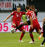 12.08.2018, Commerzbank - Arena, Frankfurt, GER, Supercup, Eintracht Frankfurt vs FC Bayern M&uuml;nchen , <br />DFL REGULATIONS PROHIBIT ANY USE OF PHOTOGRAPHS AS IMAGE SEQUENCES AND/OR QUASI-VIDEO.<br />im Bild<br />Niklas S&uuml;le (M&uuml;nchen), Sebastien Haller (Frankfurt), Leon Goretzka (M&uuml;nchen)<br /> <br /> Foto &copy; nordphoto / Bratic