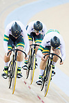 The team of Australia with Matthew Glaetzer, Jacob Schmid and Nathan Hart compete in Men's Team Sprint - Qualifying match as part of the 2017 UCI Track Cycling World Championships on 12 April 2017, in Hong Kong Velodrome, Hong Kong, China. Photo by Victor Fraile / Power Sport Images