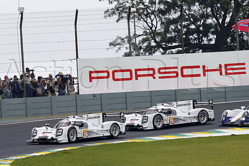 29.11.2014. InterlagCircuit, Sao Paulo, Brazil. 6-Hours WEC race of Sao Paulo.   Porsche 919 Hybrid, Porsche Team: Timo Bernhard, Brendon Hartley, Mark Webber, Porsche Team: Romain Dumas, Neel Jani, Marc Lieb
