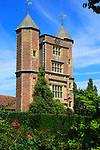 Red brick tower and blue sky Sissinghurst castle gardens, Kent, England, UK