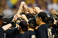 The Wake Forest Demon Deacons huddle up prior to taking on the LSU Tigers at Alex Box Stadium on February 18, 2011 in Baton Rouge, Louisiana.  The Tigers defeated the Demon Deacons 15-4.  Photo by Brian Westerholt / Four Seam Images