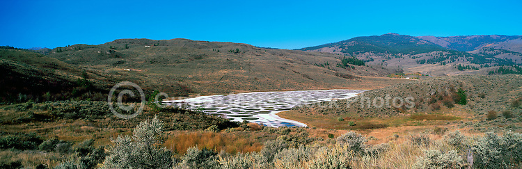 Spotted Lake near Osoyoos, South Okanagan Valley, BC, British Columbia,  Canada - Historical First Nations Sacred Mineral Waters - Panoramic View