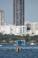 Rio de Janeiro. BRAZIL.  USA W1X, Gevvie STONE, at the start. 2016 Olympic Rowing Regatta. Lagoa Stadium,<br /> Copacabana,  &ldquo;Olympic Summer Games&rdquo;<br /> Rodrigo de Freitas Lagoon, Lagoa.   Saturday  06/08/2016 <br /> <br /> [Mandatory Credit; Peter SPURRIER/Intersport Images]
