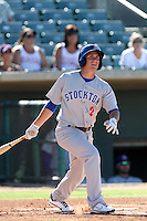 Chad Oberacker #2 of the Stockton Ports bats against the Lancaster JetHawks at Clear Channel Stadium on July 8, 2012 in Lancaster, California. Lancaster defeated Stockton 10-8. (Larry Goren/Four Seam Images)