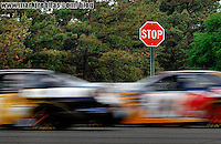 Jun 10, 2007; Long Pond, PA, USA; Nascar Nextel Cup Series driver Mark Martin (01) and Brian Vickers (83) race past a stop sign during the Pocono 500 at Pocono Raceway. Mandatory Credit: Mark J. Rebilas-US PRESSWIRE Copyright © 2007 Mark J. Rebilas..