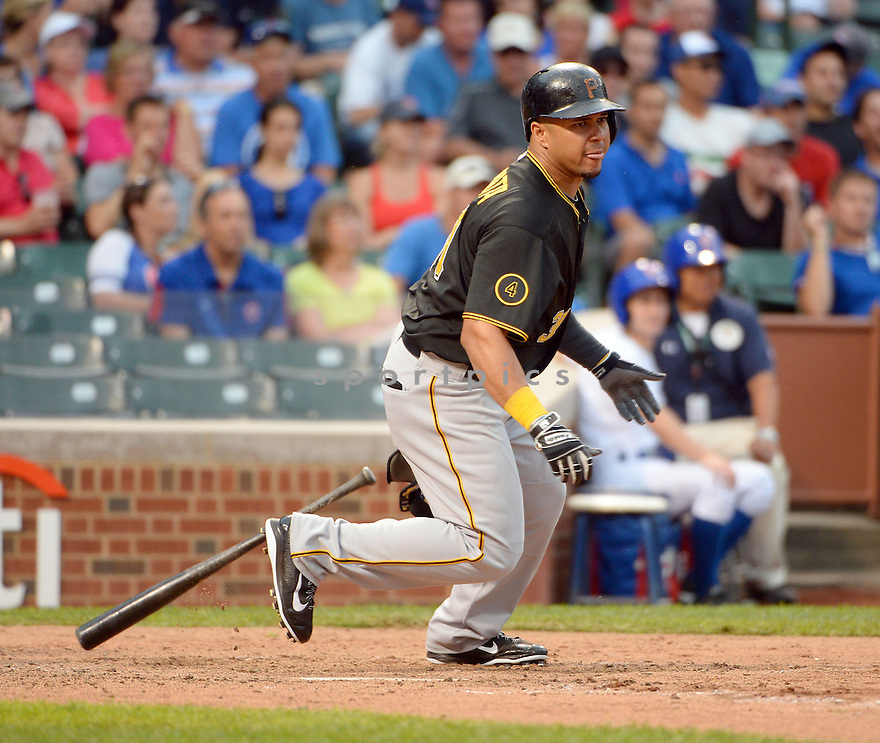 Pittsburgh Pirates Jose Tabata (31) during a game against the Chicago Cubs on September 5, 2014, at Wrigley Field in Chicago, IL. The Pirates beat the Cubs 5-3.
