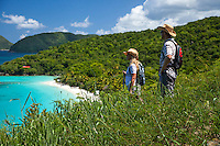 Hikers at Trunk Bay.Virgin Islands National Park.St. John, U.S. Virgin Islands