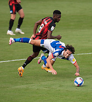 Blackburn Rovers' Lewis Travis (right) is tackled by Bournemouth's Jefferson Lerma (left) <br /> <br /> Photographer David Horton/CameraSport <br /> <br /> The EFL Sky Bet Championship - Bournemouth v Blackburn Rovers - Saturday September 12th 2020 - Vitality Stadium - Bournemouth<br /> <br /> World Copyright © 2020 CameraSport. All rights reserved. 43 Linden Ave. Countesthorpe. Leicester. England. LE8 5PG - Tel: +44 (0) 116 277 4147 - admin@camerasport.com - www.camerasport.com