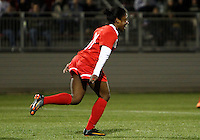 BOYDS, MARYLAND - April 06, 2013:  Jasmyne Spencer (20) of The Washington Spirit after scoring against the University of Virginia women's soccer team in a NWSL (National Women's Soccer League) pre season exhibition game at Maryland Soccerplex in Boyds, Maryland on April 06. Virginia won 6-3.