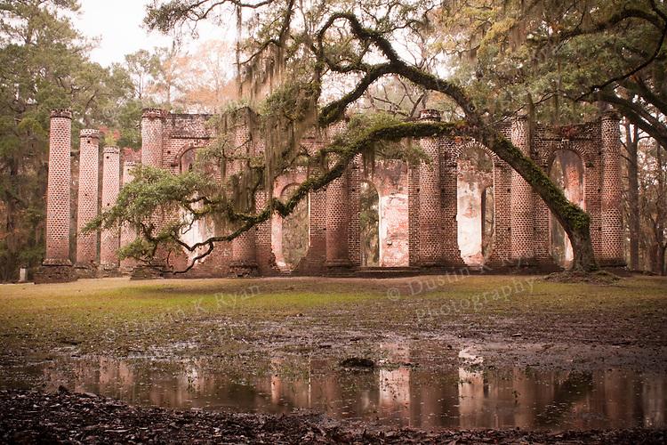 Old Sheldon Church Ruins near Beaufort South Carolina with Live Oaks and Spanish moss in the fog and rain High Dynamic Range
