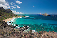 Makapu'u Beach, with Manana and Kaohikaipu Islands (Rabbit and Bird Islands) on the Windward side of O'ahu.