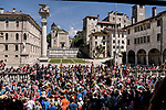 The start of Stage 20 of the 2019 Giro d'Italia, running 194km from Feltre to Croce d'Aune-Monte Avena, Italy. 1st June 2019<br /> Picture: Marco Alpozzi/LaPresse | Cyclefile<br /> <br /> All photos usage must carry mandatory copyright credit (© Cyclefile | Marco Alpozzi/LaPresse)