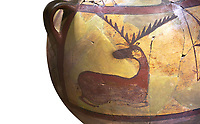 Close up of a Phrygian terra cotta large jug with handles, decorated with animals, from Gordion. Phrygian Collection, 6th century BC - Museum of Anatolian Civilisations Ankara. Turkey. Against a white background
